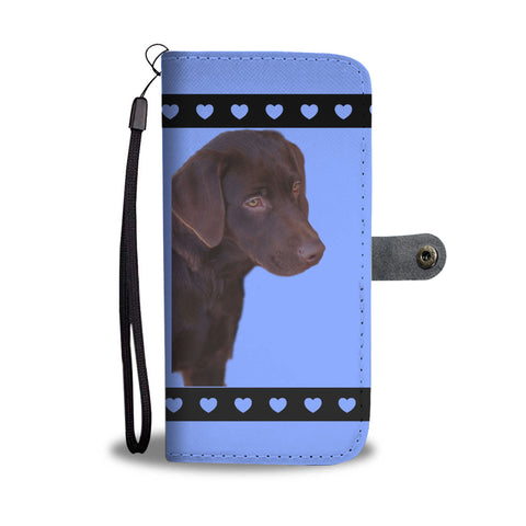 Chocolate Lab Phone Case Wallet - Blue