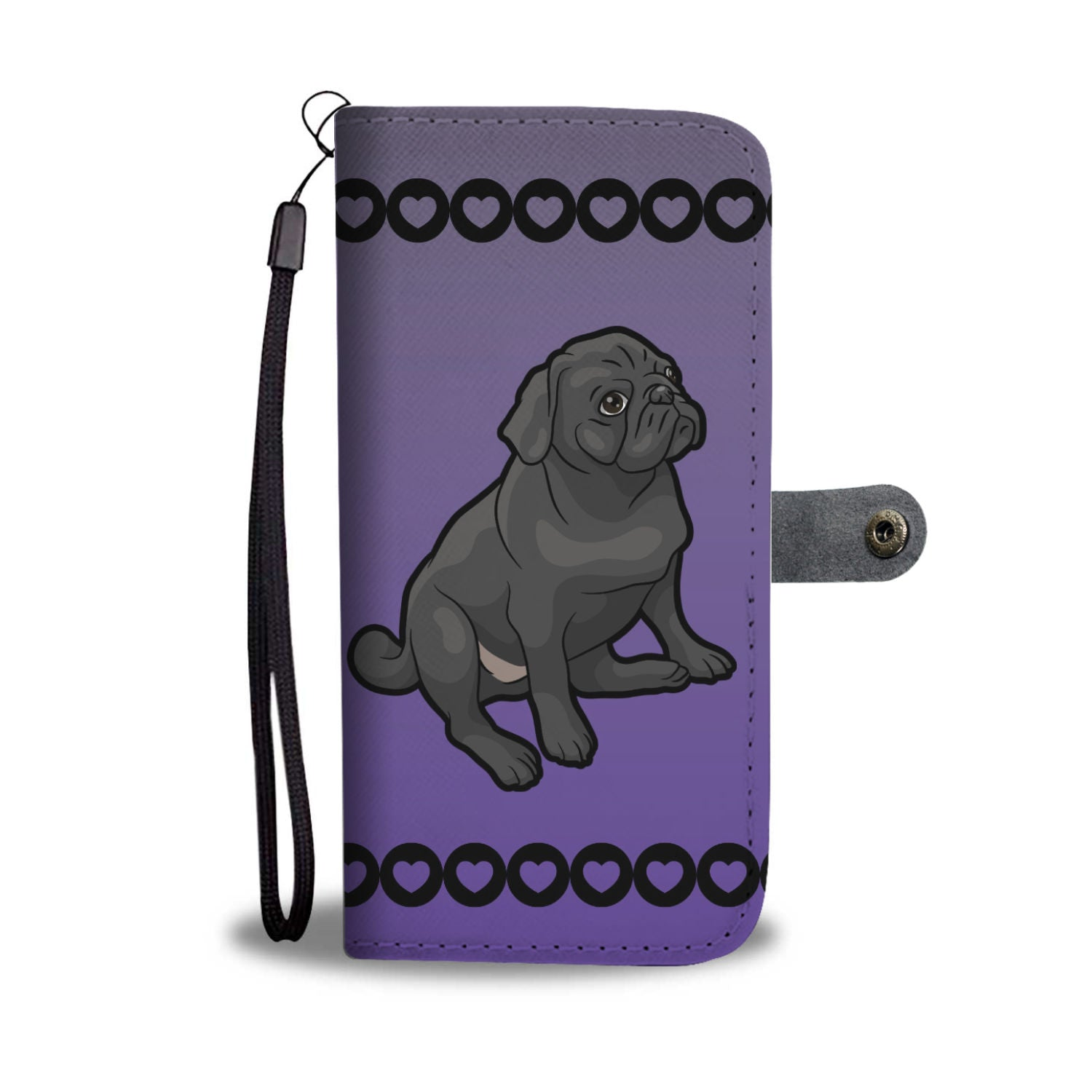 Pug Phone Case Wallet - Cartoon Black Pug