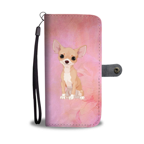 Chihuahua Phone Case Wallet - Pink Floral