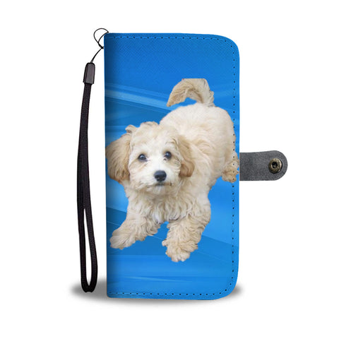 Maltipoo Phone Case Wallet - Blue