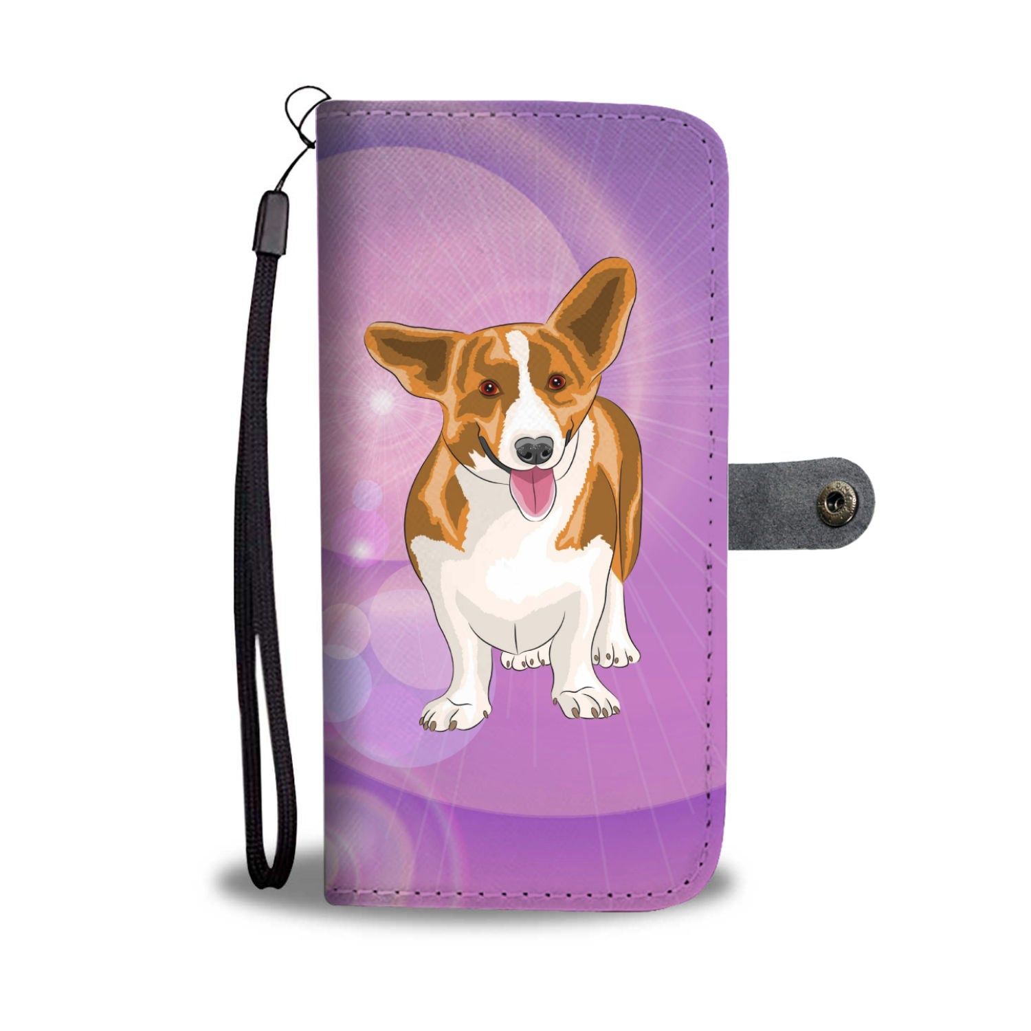 Corgi Phone Case Wallet - Purple