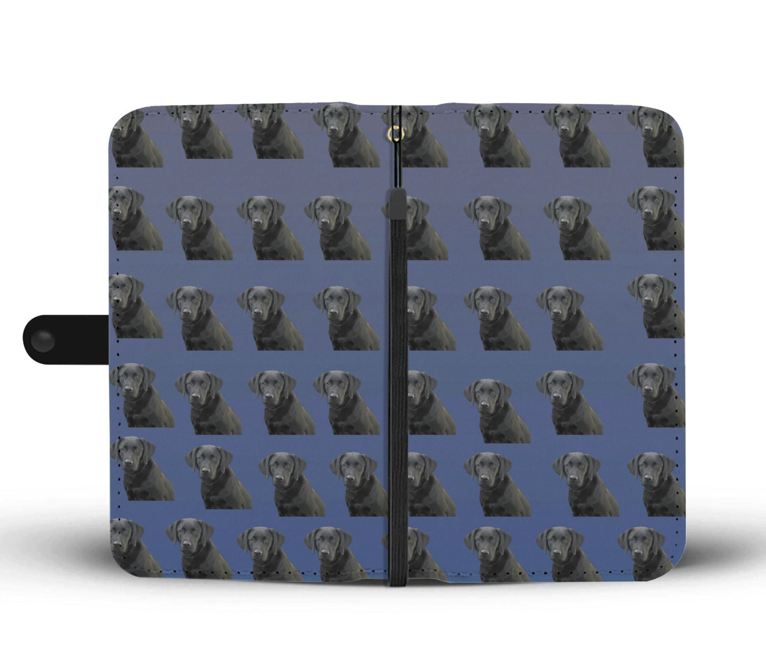 Black Lab Phone Case Wallet - Blue