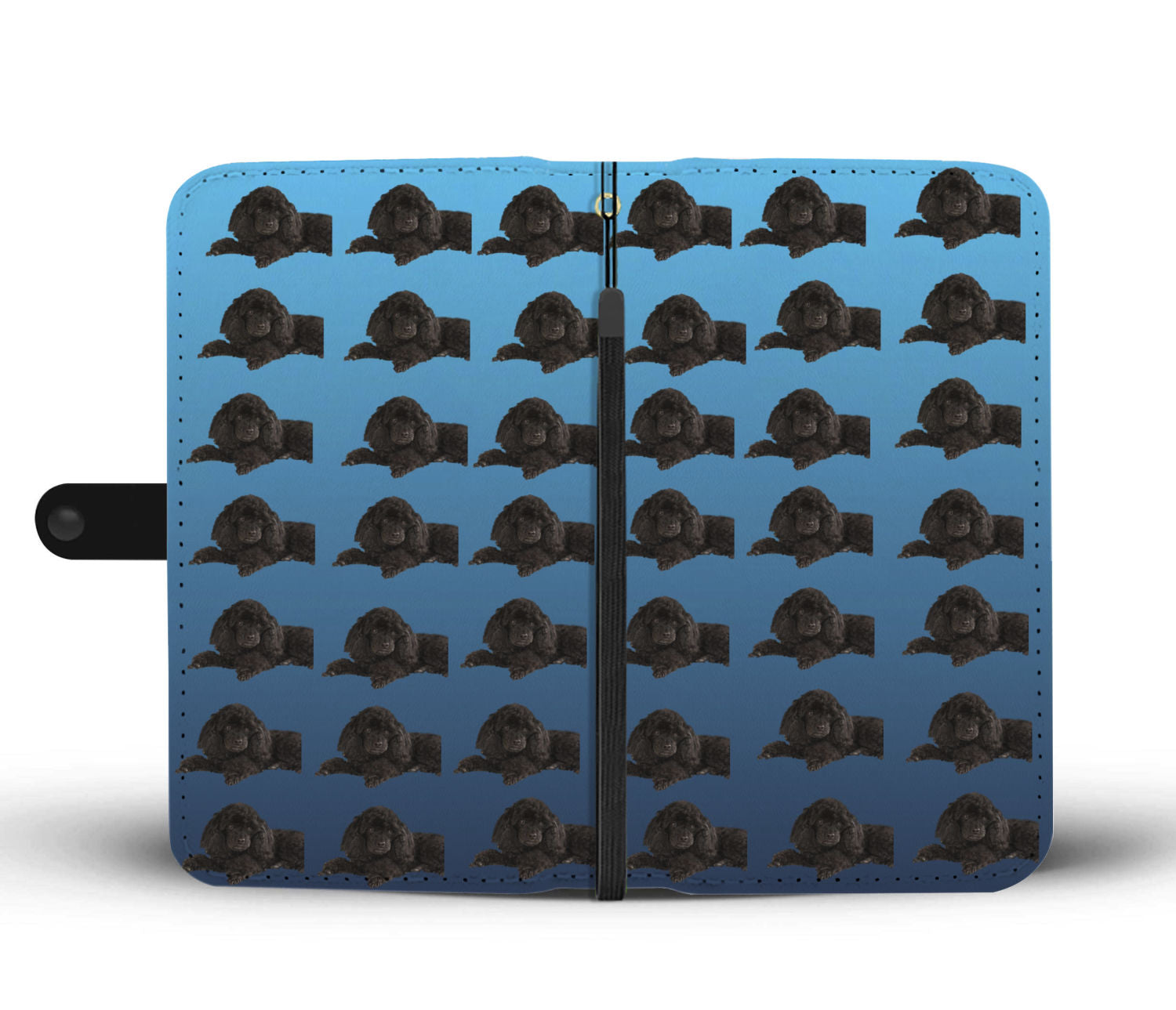Poodle Phone Case Wallet - Black