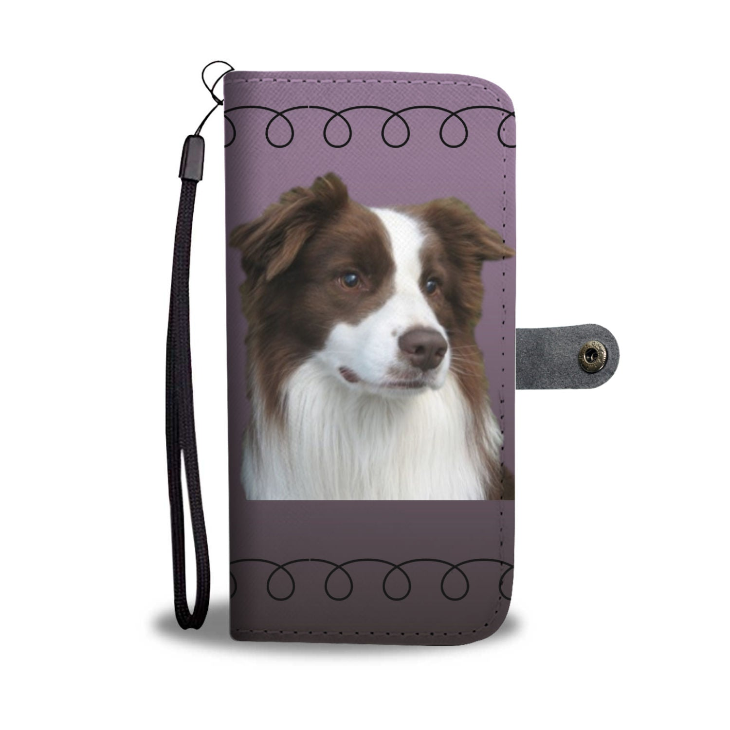 Border Collie Phone Case Wallet - Purple