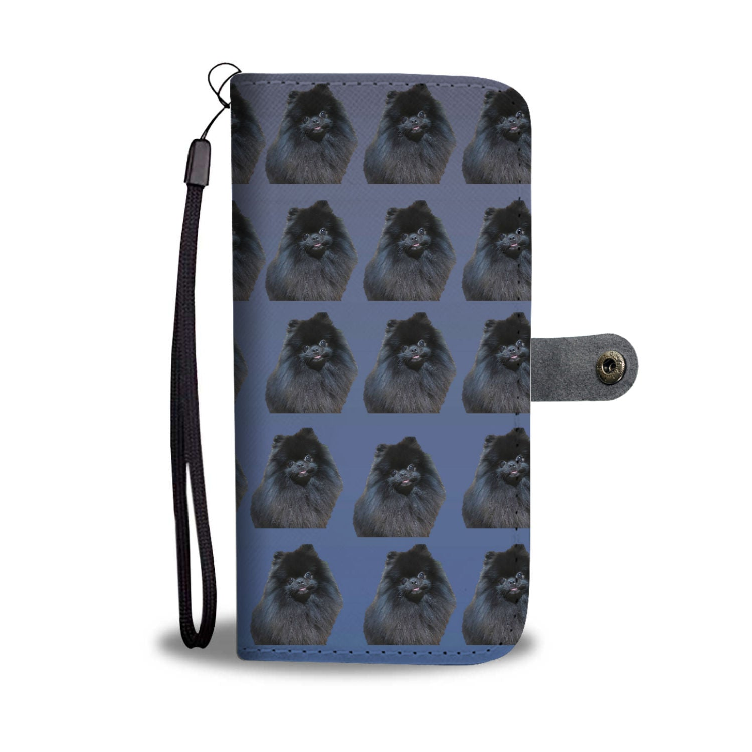 Pomeranian Phone Case Wallet - Black