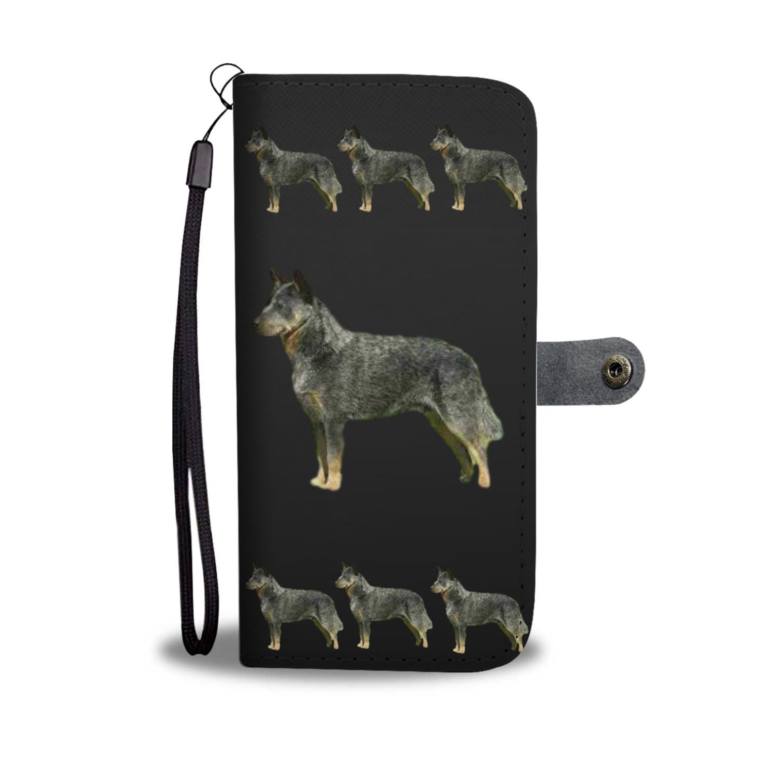 Australian Cattle Dog Phone Case Wallet - Black