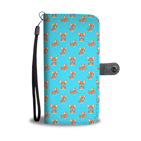 Chihuahua Cartoon Phone Case Wallet  - Blue