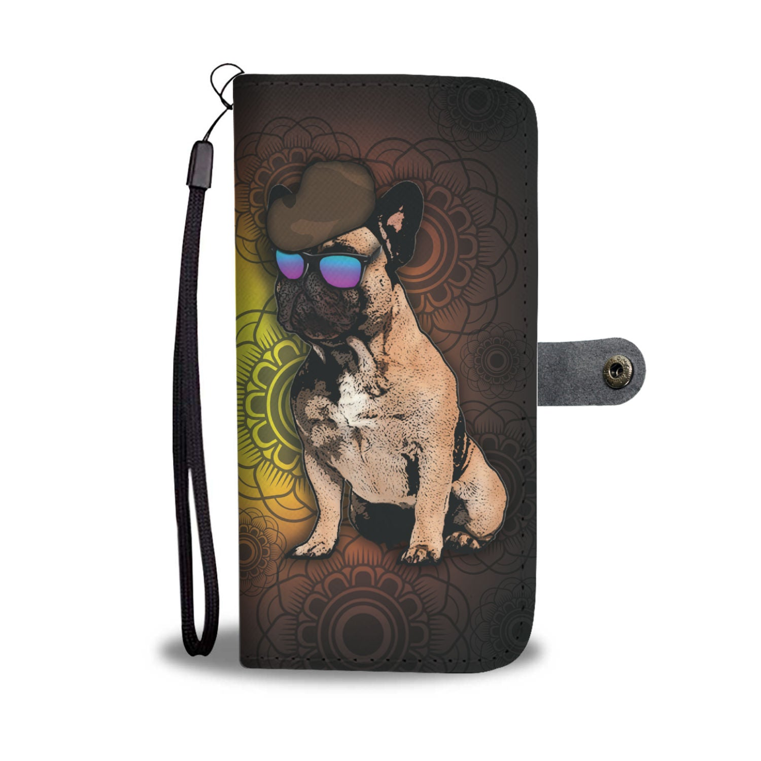 French Bulldog Phone Case Wallet - Brown