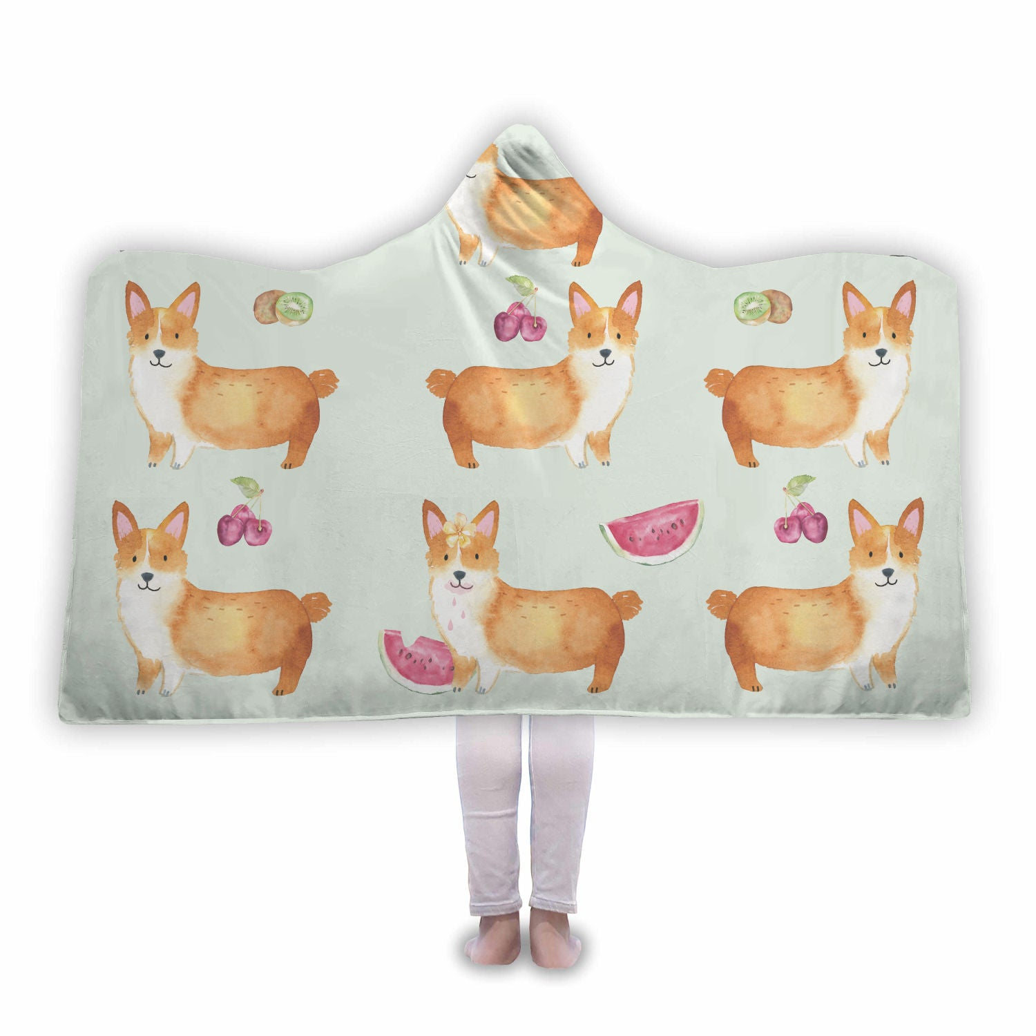 Corgi Fruit Hooded Blanket