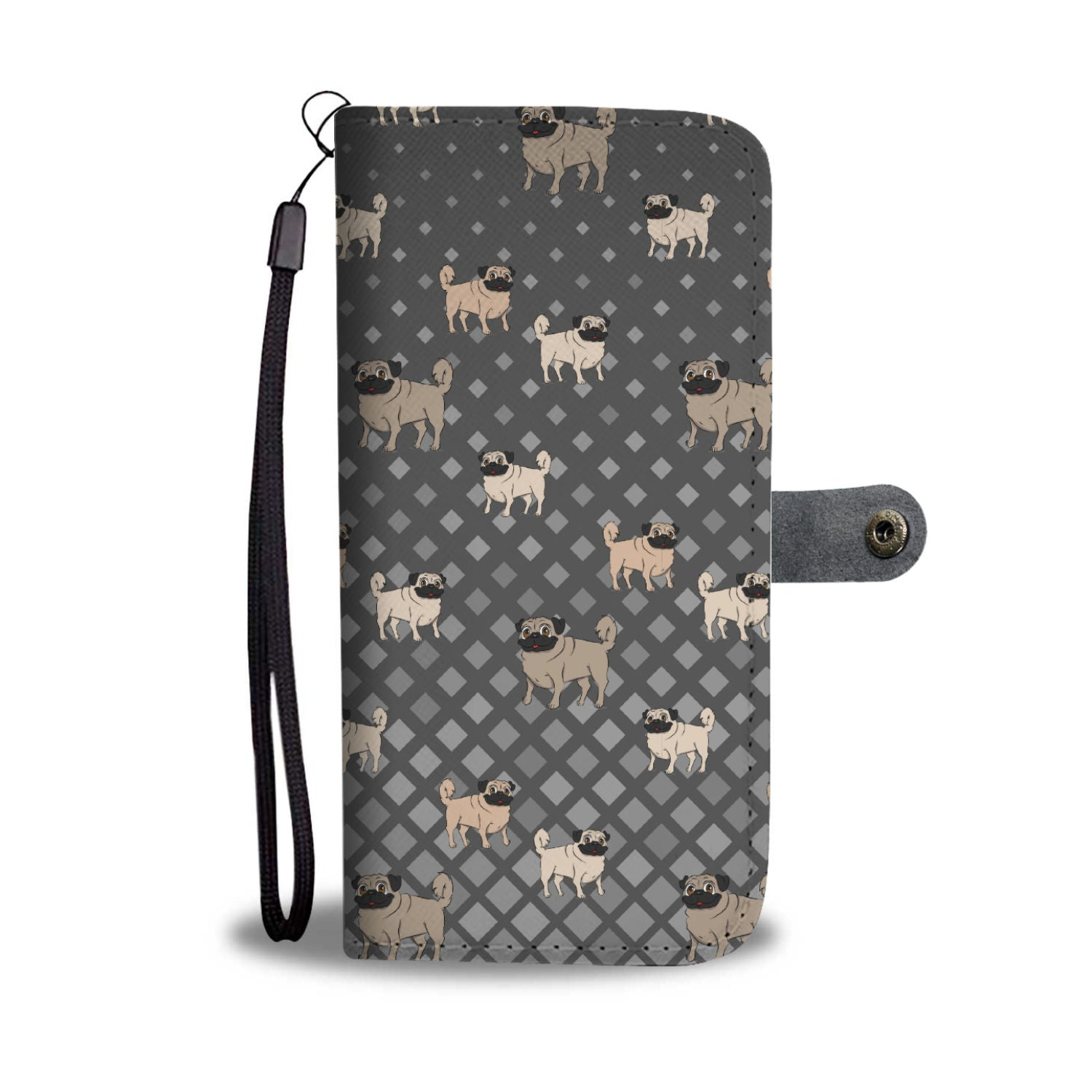 Pug Phone Case Wallet - Grey