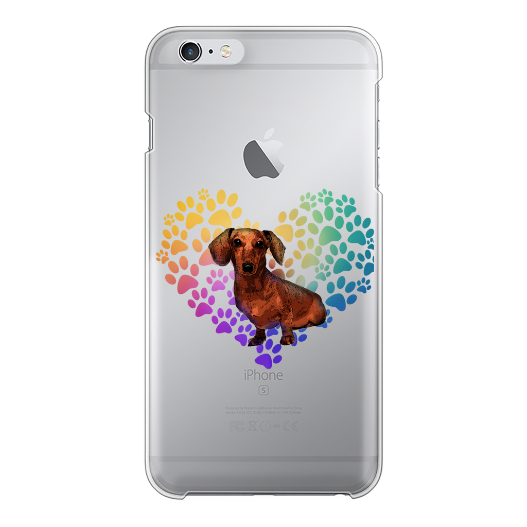Heart Dachshund Transparent Hard Phone Case