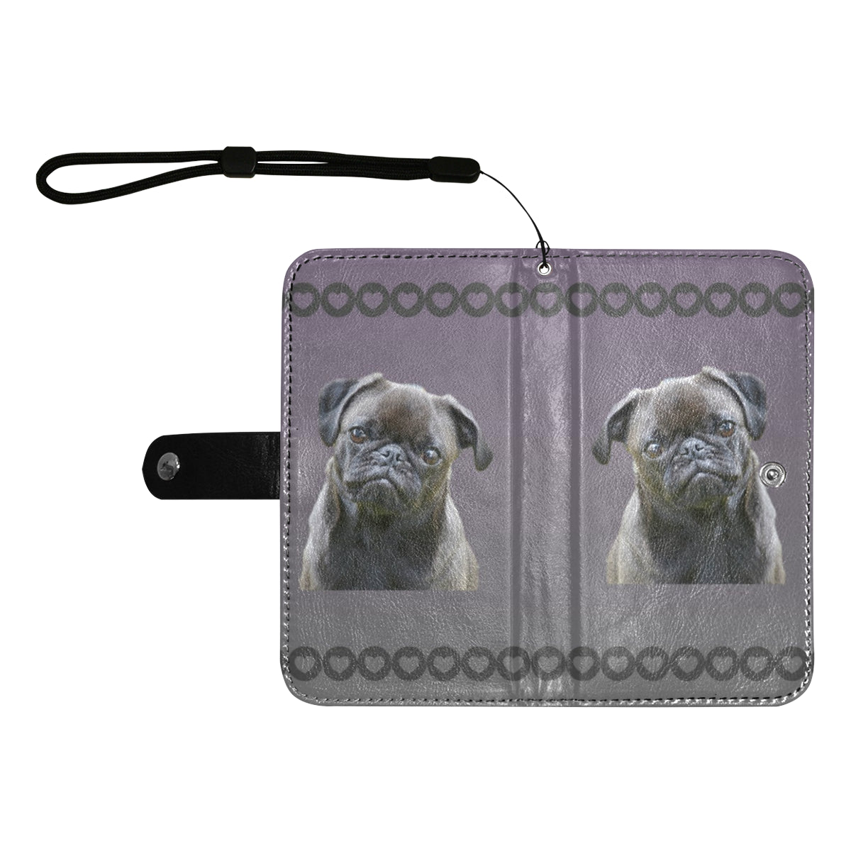 Pug Phone Case Wallet - Black Pug 55