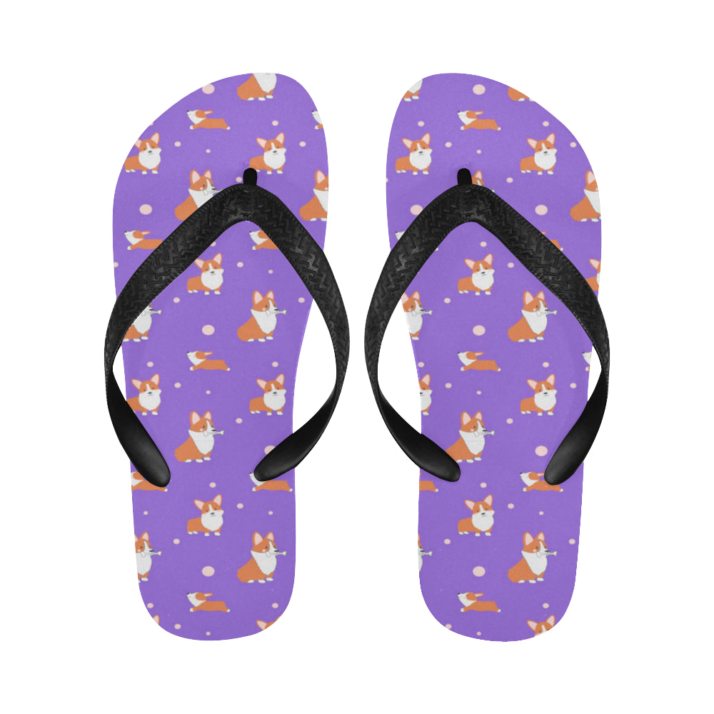 Corgi Flip Flops - Purple Cartoon