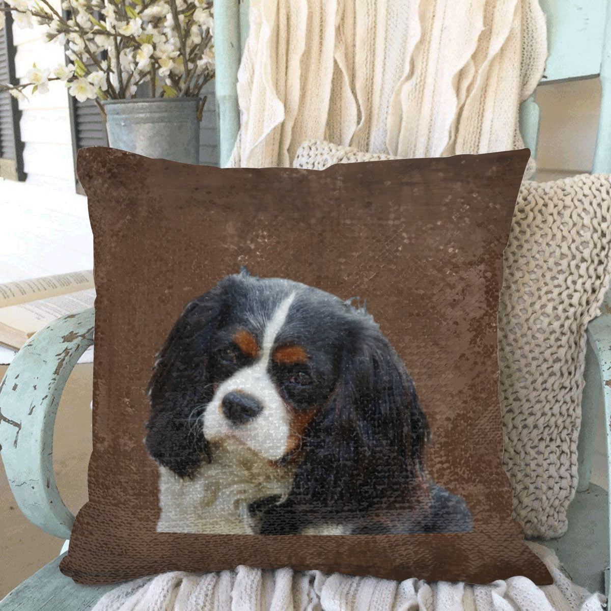 Cavalier King Charles Spaniel Sequin Pillow Cover - Tri