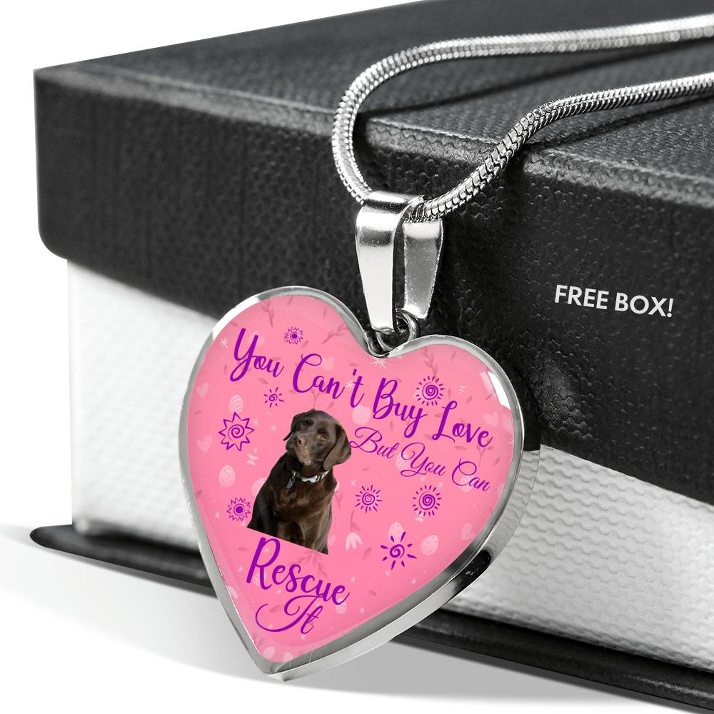 Chocolate Lab Can't Buy Love Heart Necklace