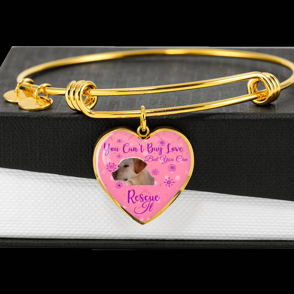 Yellow Lab Can't Buy Love Heart Bangle