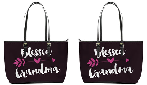 Blessed Grandma Leather Tote Bag