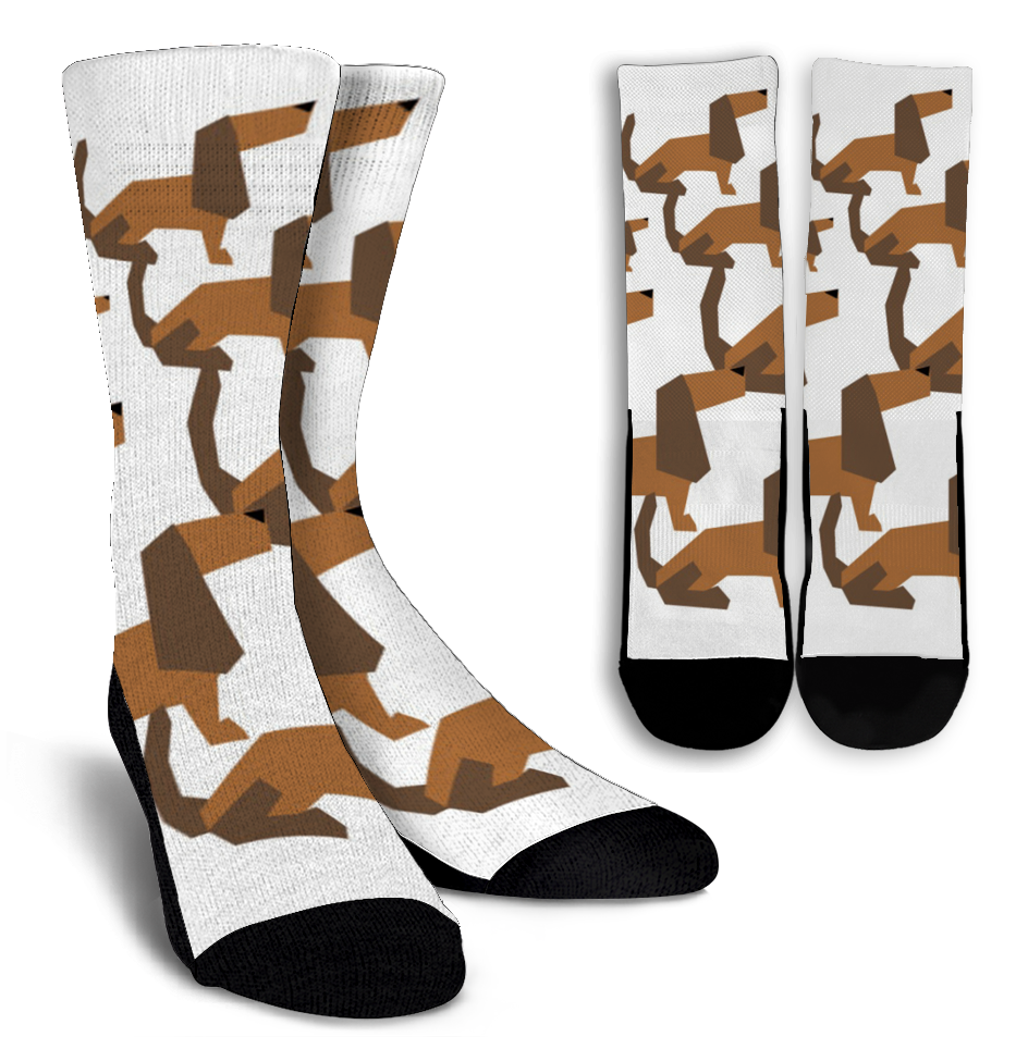 Cartoon Dachshund Crew Socks