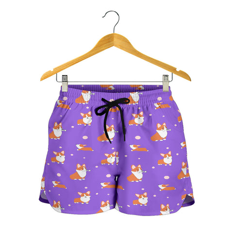 Corgi Cartoon Shorts - Purple