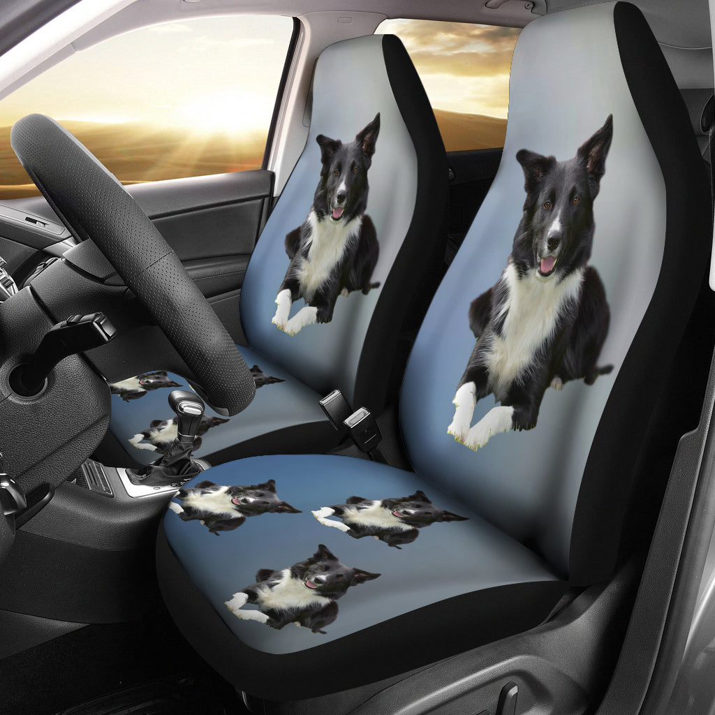 Border Collie Car Seat Cover Blue (set of 2)