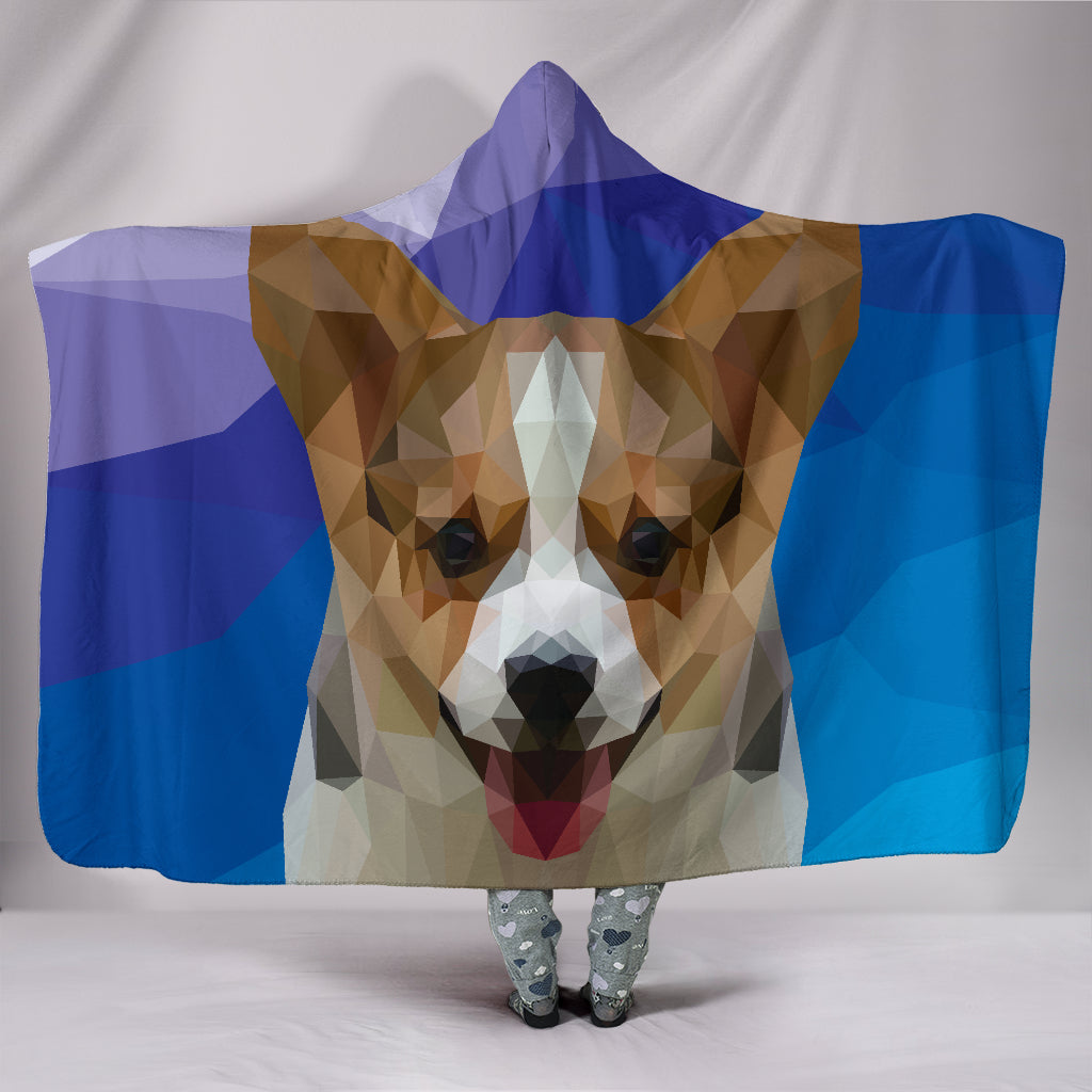 Corgi Dog Modern Art Hooded Blanket