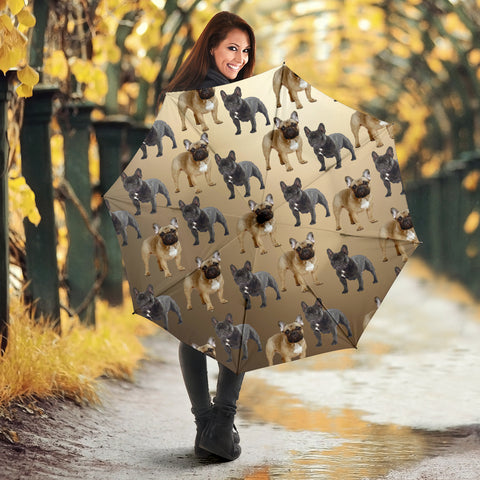 French Bulldog Umbrella Tan - Semi Automatic