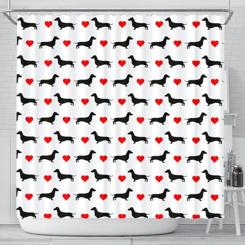 Dachshund Heart - Doxie Shower Curtain