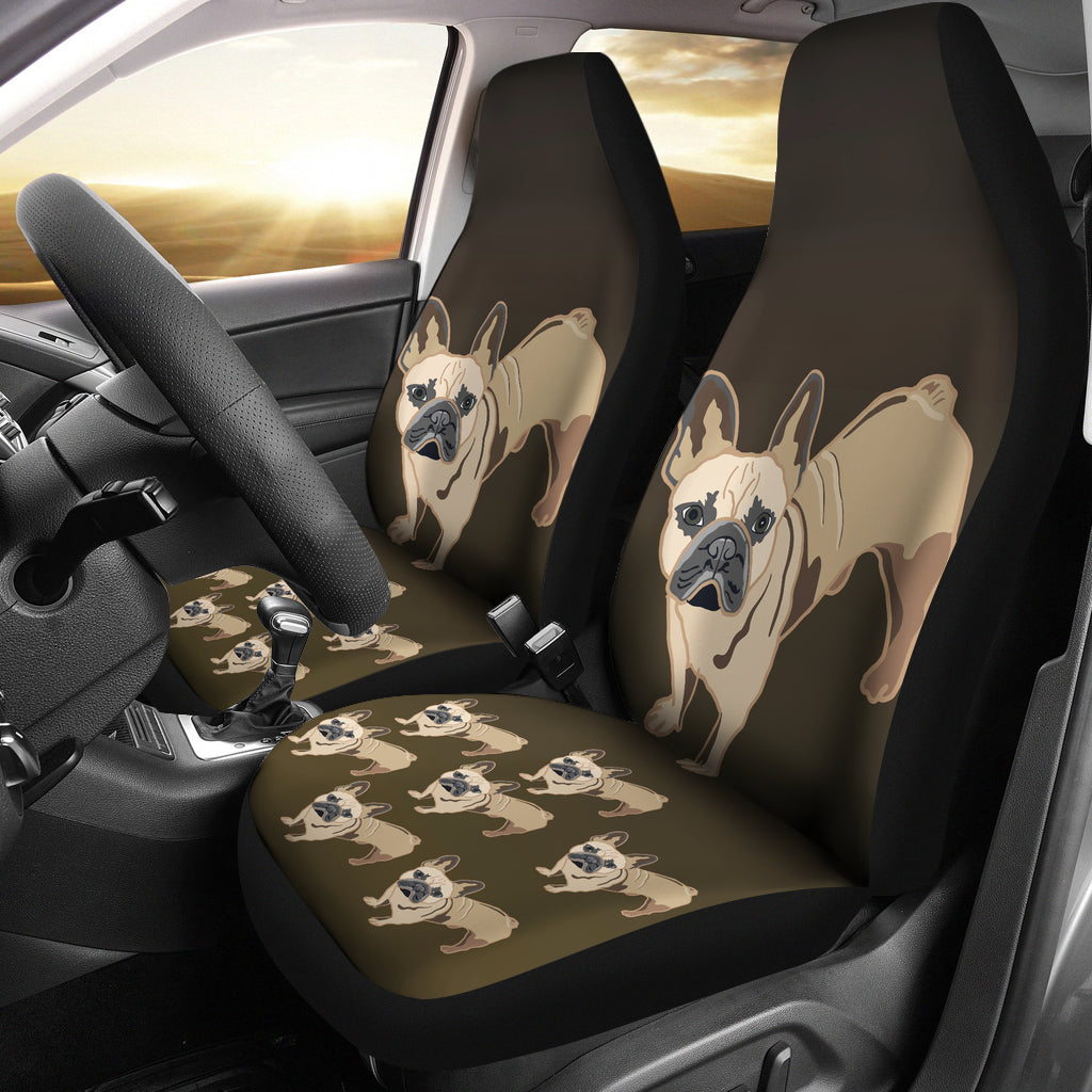 French Bulldog Cartoon Car Seat Cover ( Set of 2)