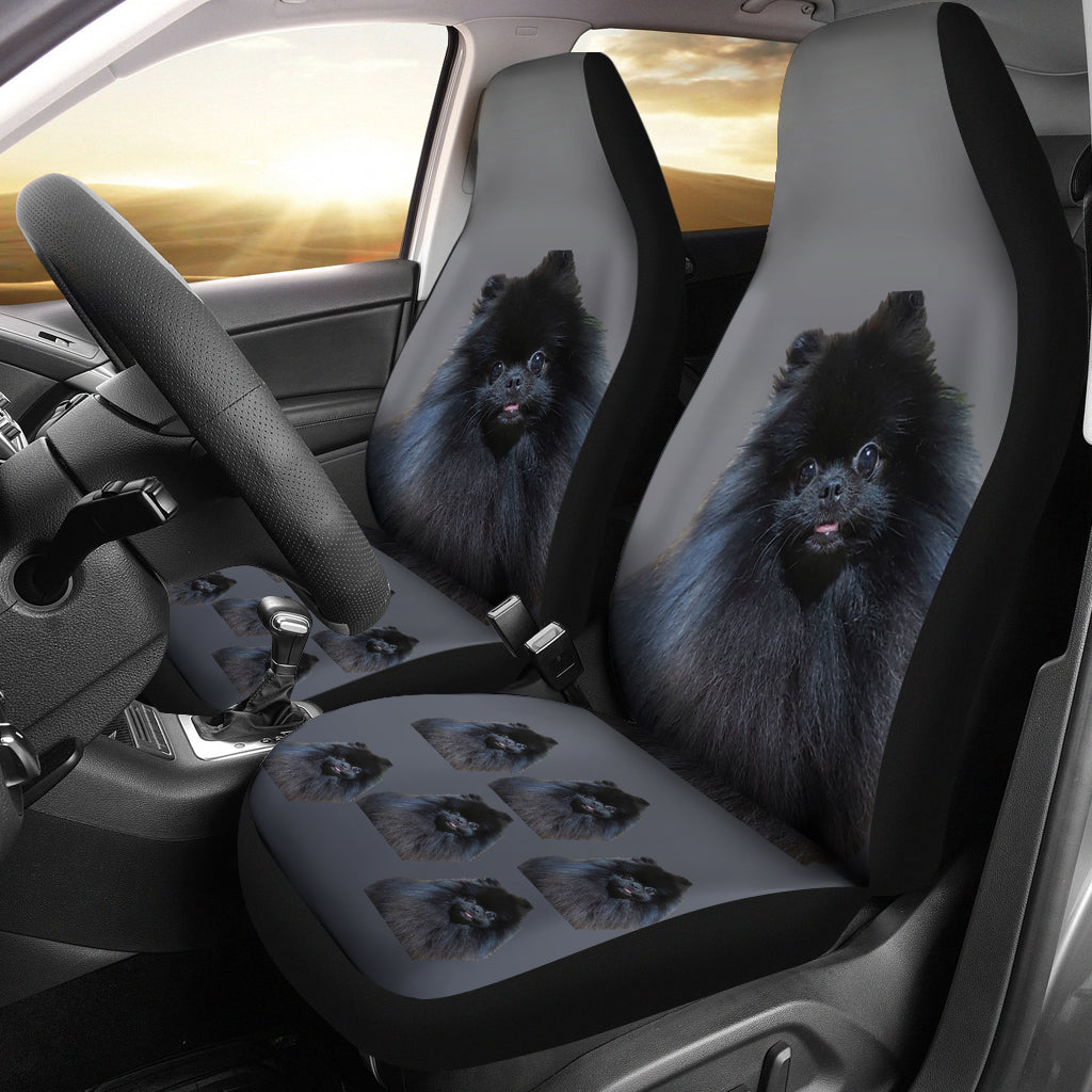 Pomeranian Car Seat Covers (Set of 2) - Black