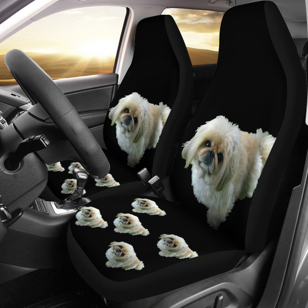 Pekingese Car Seat Covers Black (Set of 2)
