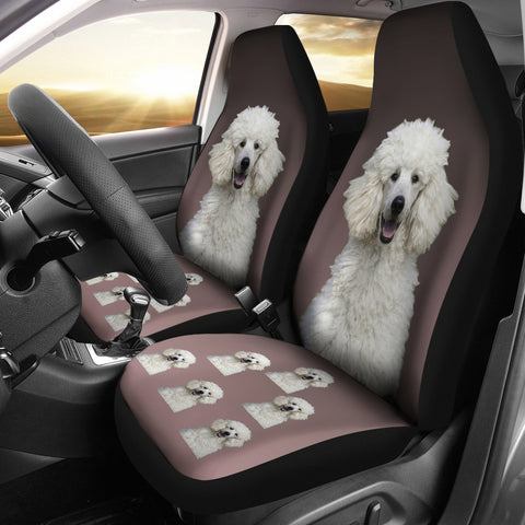 Poodle Car Seat Cover - White (Set of2)