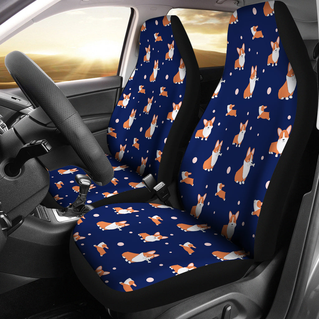 Blue Corgi Car Seat Cover (Set of 2)