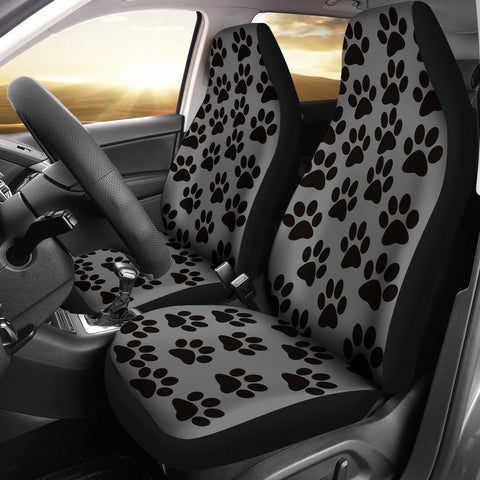 Paw Print Car Seat Covers Grey/Black - (Set of 2)