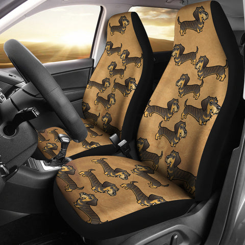 Cartoon Wire Haired Dachshund Car Seat Cover (Set of 2)