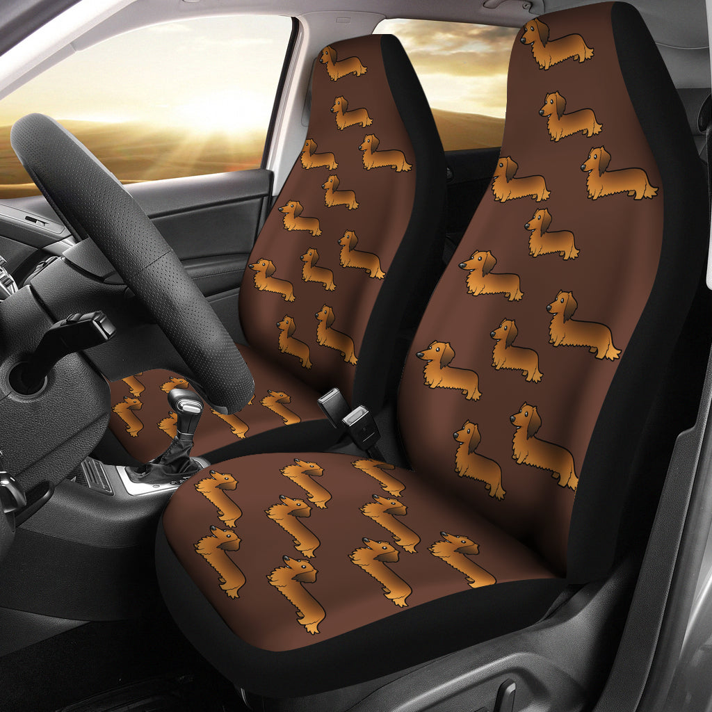 Long Haired Dachshund Car Seat Cover (Set of 2)