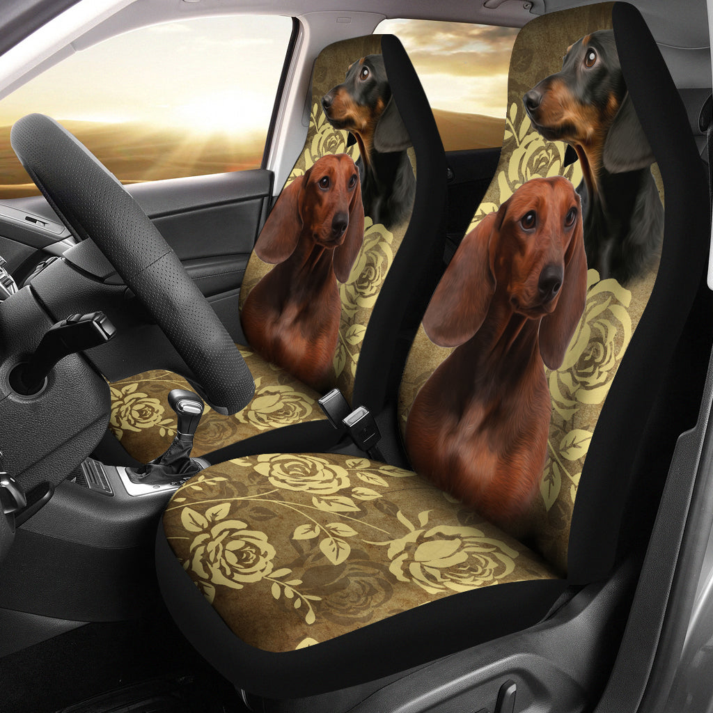 Dachshund Car Seat Covers -Tan & Black (Set of 2)