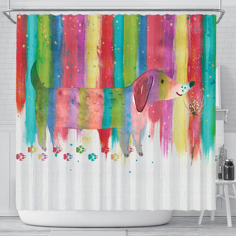 Dachshund Shower Curtain - Rainbow