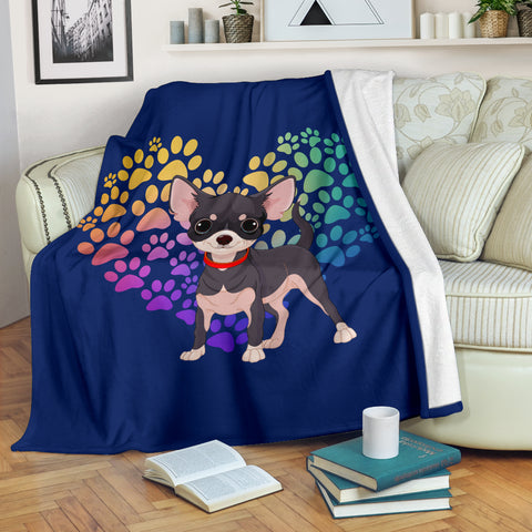 Chihuahua Cartoon Heart Blanket