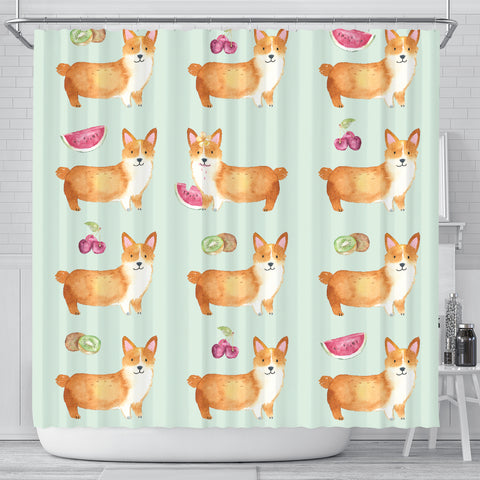 Corgi Fruit Shower Curtain