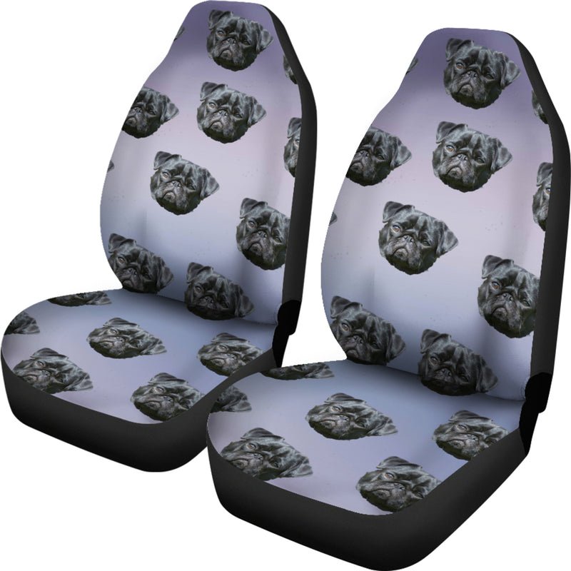 Pug Car Seat Cover - Black (Set of 2)