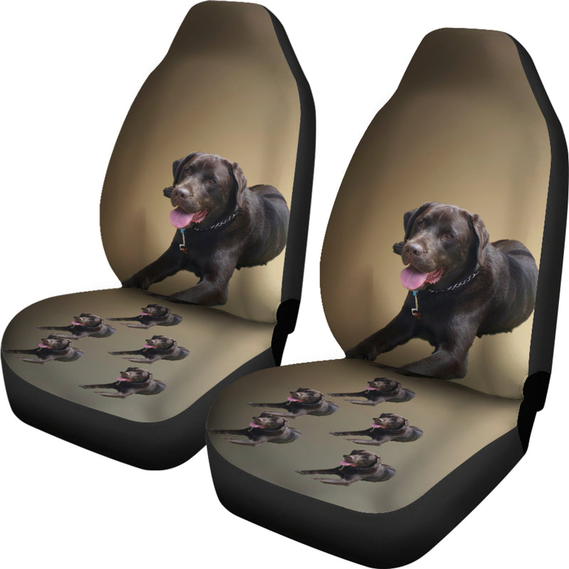 Chocolate Labrador Car Seat Cover (Set of 2)