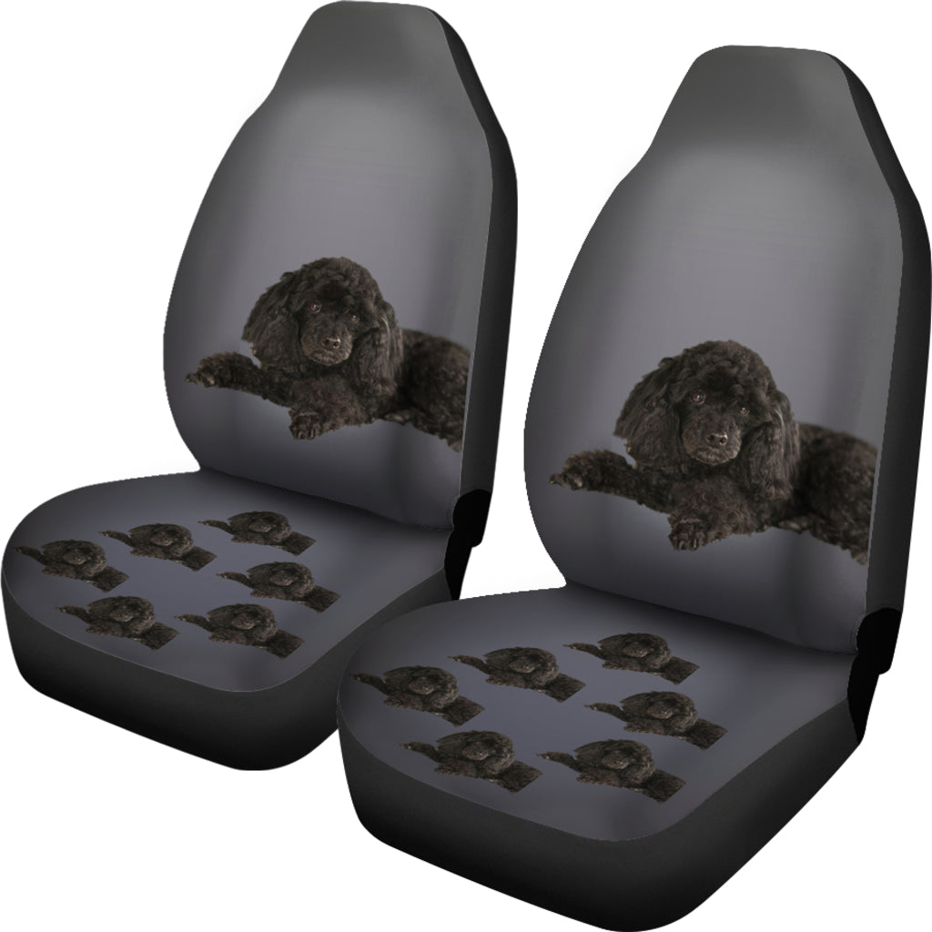 Poodle Car Seat Cover (Set of 2) - Black