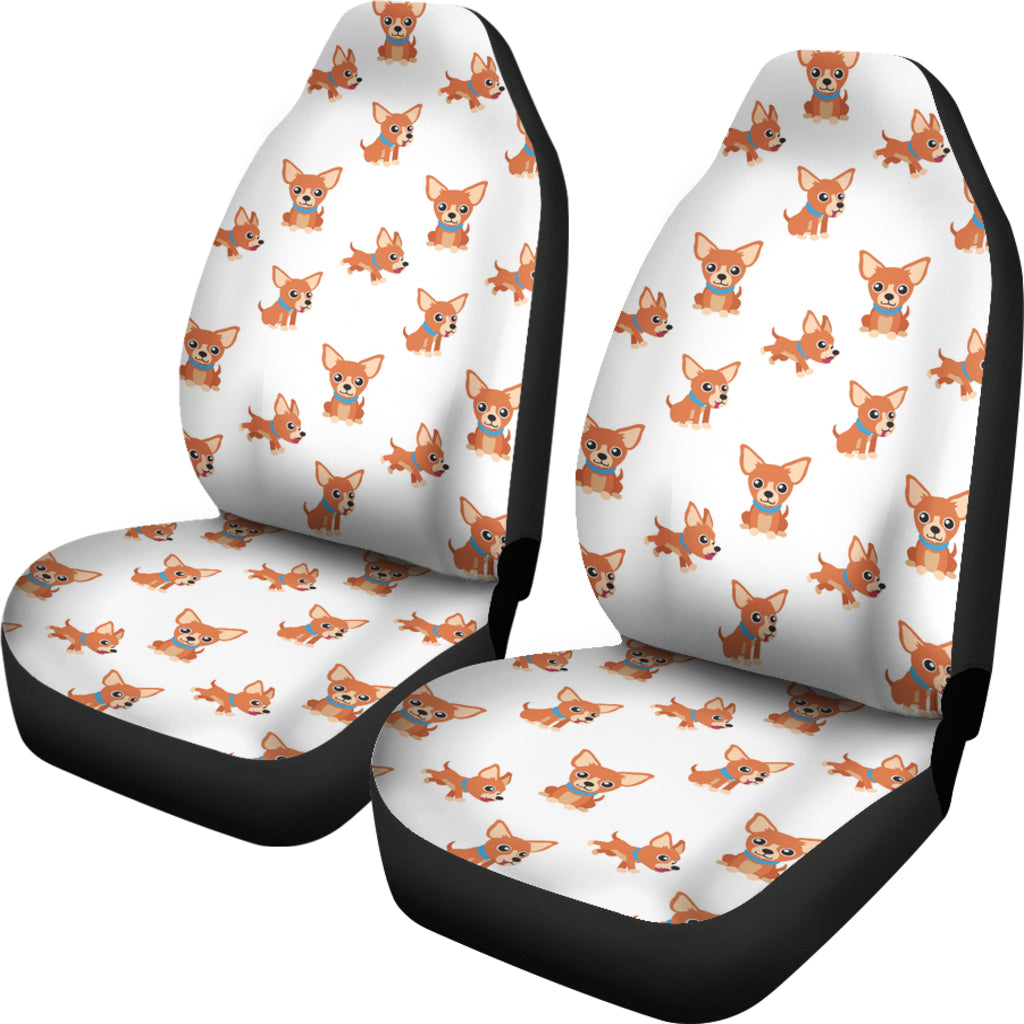 Chihuahua Cartoon White Car Seat Cover (Set of 2)