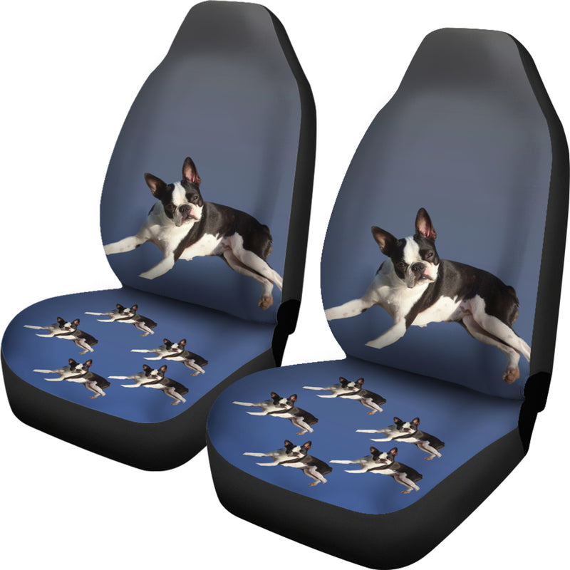 Boston Terrier Car Seat Covers (Set of 2) - Blue