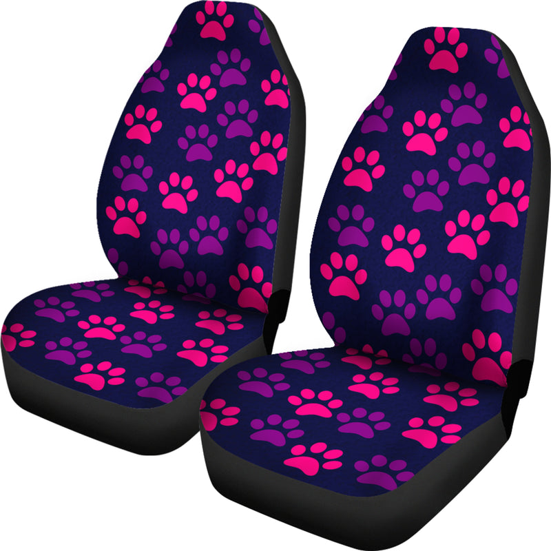 Paw Print Car Seat Cover Purple/Pink -(Set of 2)