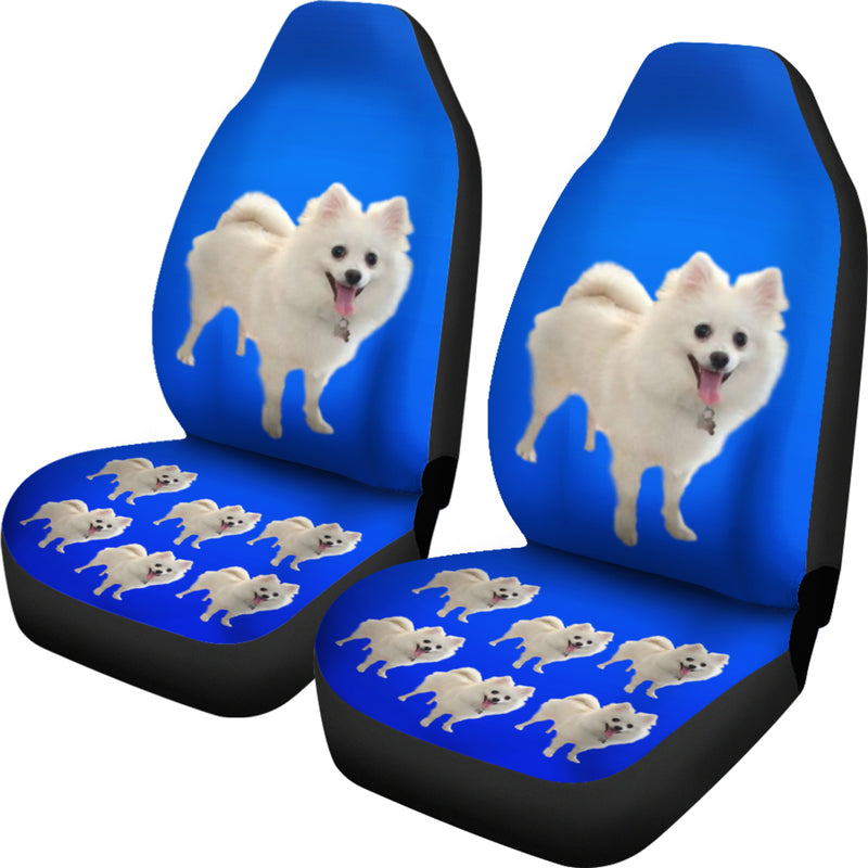 Pomeranian Car Seat Covers - White (Set of 2)