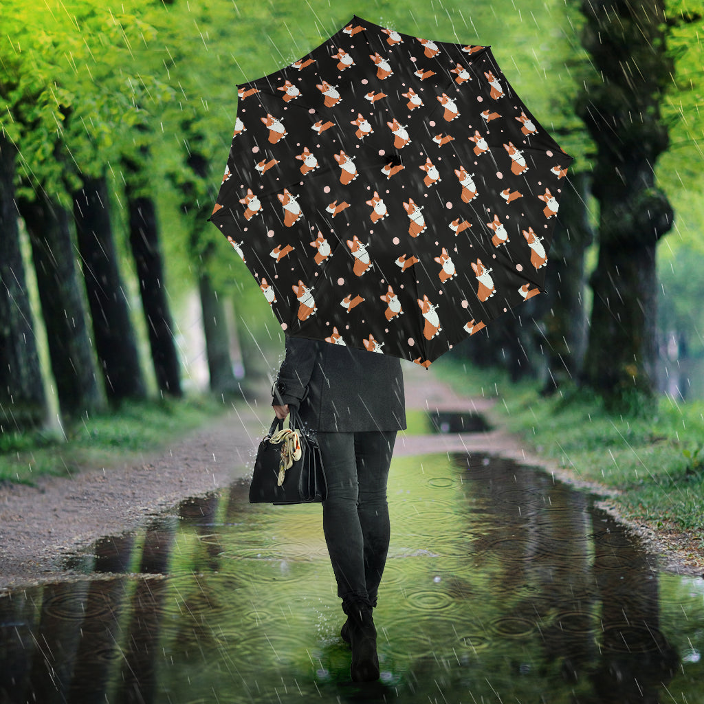 Corgi Umbrella Black - Semi Automatic