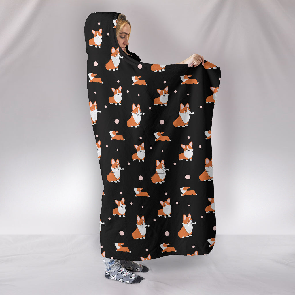 Corgi Hooded Blanket - Black
