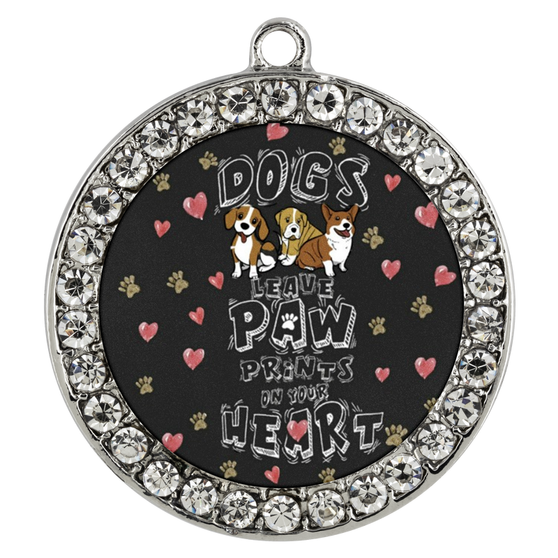 Dogs Leave Paw Prints Coin Necklace