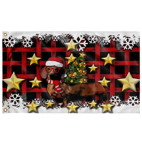 Dachshund Christmas Wall Flag